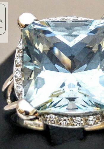 anello acquamarina recarlo con diamantini