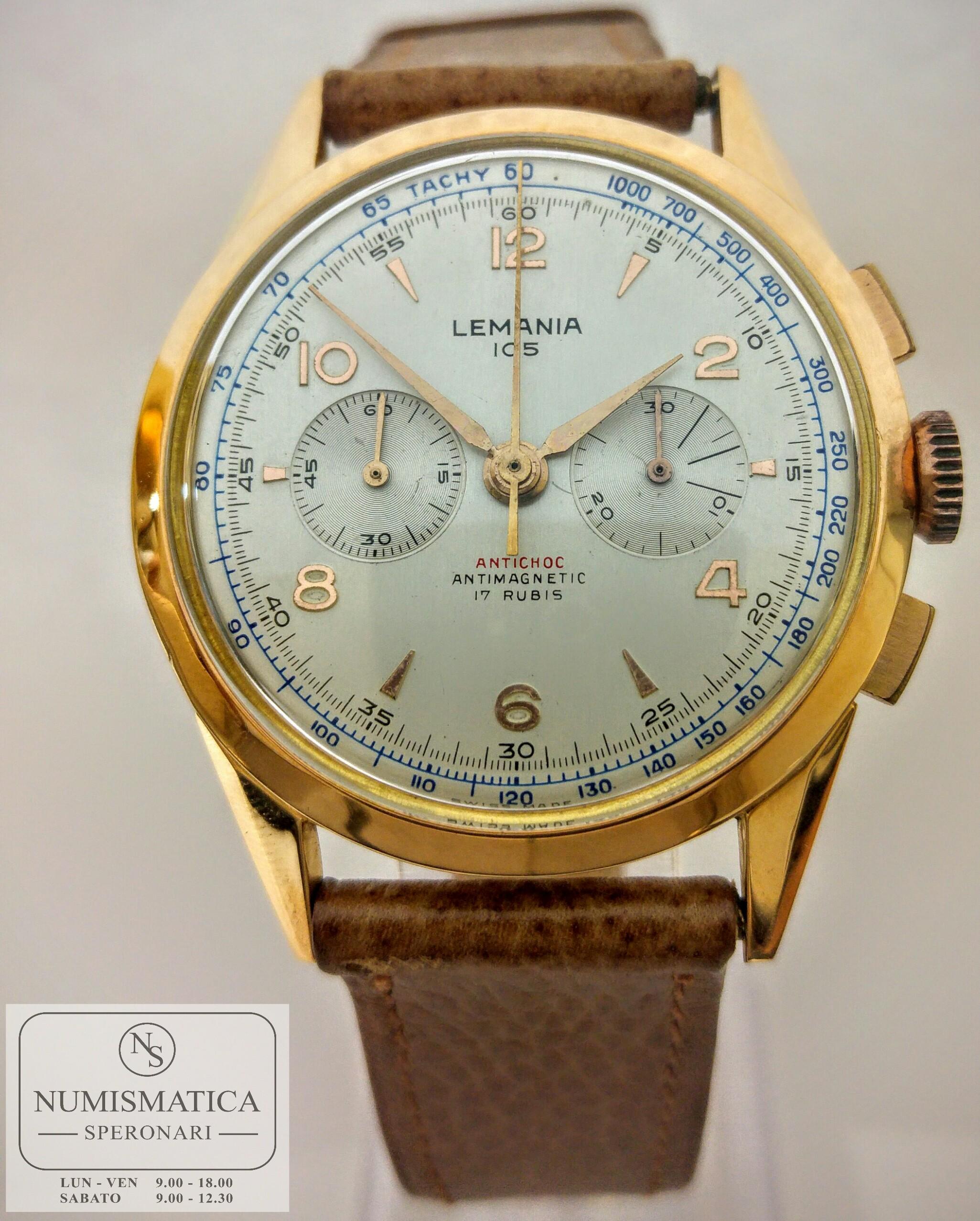 chrono vintage Lemania 105 frontale